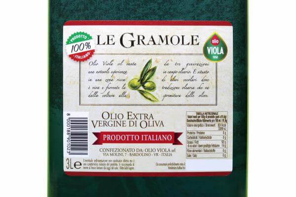 etichetta olio extravergine di oliva Gramole Viola 3 L